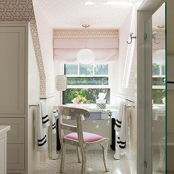 Liz Caan Interiors - bathrooms - vanity nook, make up vanity nook, mirrored vanity, mirrored make up vanity, bone inlay chair, marble floor, white and pink wallpaper, trellis wallpaper, white and pink trellis wallpaper, , Manuel Canovas Trellis Wallpaper, Made Goods Ines Chair,
