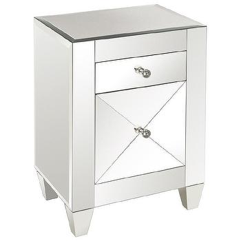 Storage Furniture - Worlds Away Marina Mirrored Nightstand I Zinc Door - mirrored nightstand, modern mirrored nightstand, contemporary mirrored nightstand,