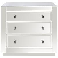 Storage Furniture - Worlds Away Alicia 3 Drawer Mirrored Chest I Zinc Door - mirrored chest, 3 drawer mirrored chest, modern mirrored chest,