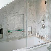Carol Reed Design - bathrooms - attic bathroom, attic shower, attic shower ideas, rain shower head, marble shower surround, white marble shower surround, shower niche, decorative marble tiles, glass shower shelf, glass shower partition, shower partition,
