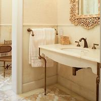 Carol Reed Design - bathrooms - mediterranean bathroom, moroccan tiles, moroccan tile floor, moroccan floor, moroccan bathroom floor, gray and gold tiles, white onyx, white onyx countertop, antique copper sink, antique copper washstand, antique copper faucet, moroccan mirror, ivory damask wallpaper,
