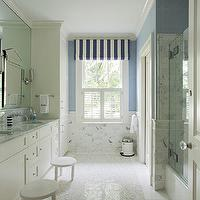 Liz Caan Interiors - bathrooms - kids bath, kids bathroom, boys bath, boys bathroom, awning stripe roman shade, awning striped roman shade, white and blue striped roman shades, striped roman shade, ivory double vanity, carrera marble, carrera marble countertop, wall mounted faucets, water closet, step stools, bath step stools, bathroom step stools, kids step stools, mosaic marble floor,