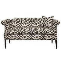 Seating - Benchmade by Brownstone Natalie Bench I Zinc Door - zebra print bench, retro zebra print bench, black and white zebra print bench,