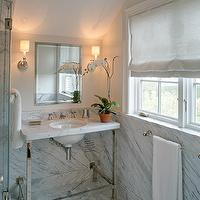 Carol Reed Design - bathrooms - attic bathroom, attic bath, attic bath ideas, inset medicine cabinet, white marble top washstand, marble top washstand, polished chrome washstand, corner shower, trellis tiles, marble trellis tiles, marble trellis floor, white marble trellis floor,