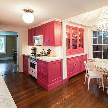 Pink Cabinets, Contemporary, kitchen