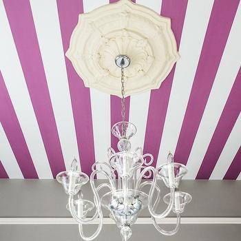 Project Nursery - girl's rooms - Serena and Lily - Shale - striped ceiling, white and purple striped ceiling, white and purple ceiling, wallpapered ceiling, white and purple wallpaper, white and purple striped wallpaper, ceiling medallion,