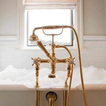 Harman Wilde - bathrooms - bathtub nook, tub nook, soaking tub, antique brass tub filler, brass tub filler, vintage tub filler, vintage brass tub filler, subway tiles,
