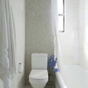 White Penny Tiles with Gray Grout, Contemporary, bathroom, Emily Gilbert Photography
