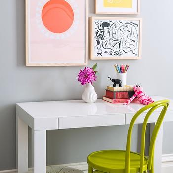 Project Nursery - girl's rooms - Serena and Lily - Shale - girls room, girls bedroom, girls desk, kids room, kids bedroom, kids desk, chartreuse chair, bentwood chair, white pouf, white leather pouf, art over desk,