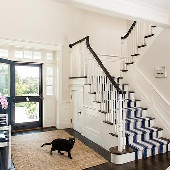 Striped Stair Runner, Cottage, entrance/foyer, Lewis and Weldon