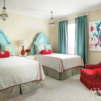 Turquoise Velvet Headboards, Contemporary, boy's room, Atlanta Homes & Lifestyles