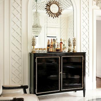 Atlanta Homes & Lifestyles - living rooms - arched mirror, built in mirror, small sunburst mirror, bar cabinet, black bar cabinet, lacquer bar cabinet, black lacquer bar cabinet, lacquered bar cabinet, black lacquered cabinet,