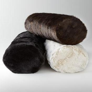 Pillows - Faux Fur Bolsters I Horchow - faux fur bolster, faux fur bolster pillow, black faux fur bolster, white faux fur bolster, brown faux fur bolster,