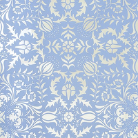 Wallpaper - Dauphine Bywater Blue Damask Wallpaper I Little Crown Interiors - blue damask wallpaper, blue and silver damask wallpaper, blue and metallic silver damask wallpaper,