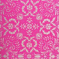 Wallpaper - Dauphine Electric Raspberry Damask Wallpaper I Little Crown Interiors - pink damask wallpaper, electric pink damask wallpaper, metallic silver and pink damask wallpaper, silver and pink damask wallpaper,