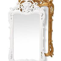 Mirrors - Floral Baroque Wall Mirror I Little Crown Interiors - white baroque wall mirror, gold baroque wall mirror, baroque mirror,