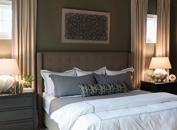 Taupe Headboard Transitional Bedroom Rue Magazine