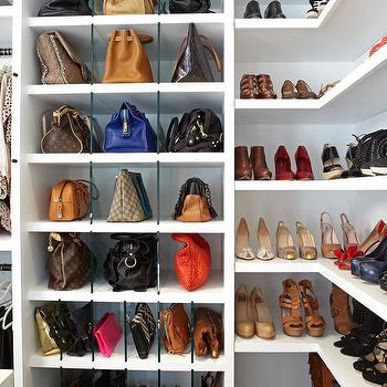 Shelves for Handbags, Transitional, closet, LA Closet Design