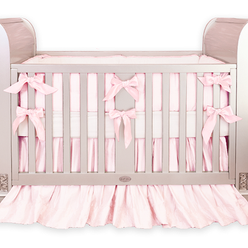Bedding - Baby Pink Silk Crib Bedding I Little Crown Interiors - baby pink silk crib bedding, pink silk crib bedding, silk crib bedding,