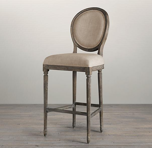Vintage French Round Upholstered Barstool I Restoration Hardware