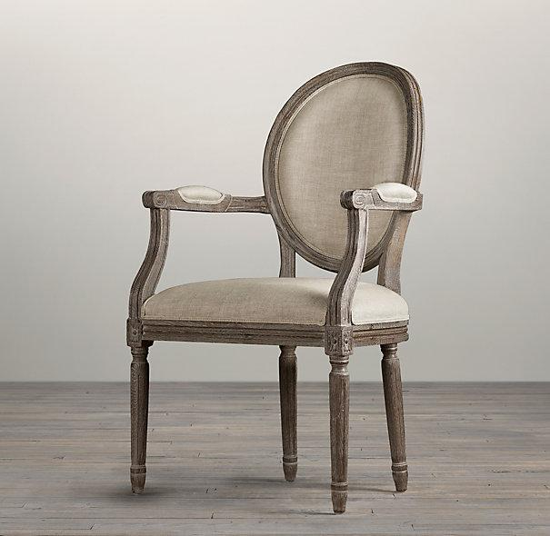 Vintage French Round Upholstered Armchair I Restoration Hardware