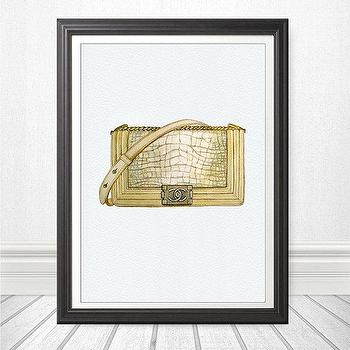 Art/Wall Decor - Original Watercolor Painting Fashion Illustration by theArtForYou - fashion, chanel, bag, art, home decor, le boy, leather, alligator, watercolor