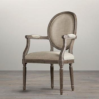 Seating - Vintage French Round Upholstered Armchair I Restoration Hardware - french round upholstered armchair, french round linen armchair, weathered linen french armchair,