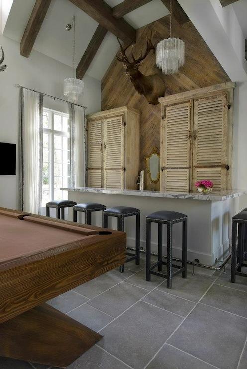 Herringbone Wall - Eclectic - media room - Thompson Custom Homes