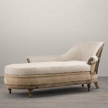 Seating - Deconstructed French Victorian Left-Arm Chaise I Restoration Hardware - deconstructed french chaise, deconstructed burlap french chaise, deconstructed chaise lounge,