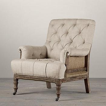 Seating - Deconstructed Tufted Roll Arm Chair I Restoration Hardware - deconstructed tufted roll arm chair, deconstructed tufted burlap chair, deconstructed burlap roll arm chair,