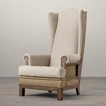 Seating - Deconstructed Highback Wing Chair I Restoration Hardware - deconstructed highback wing chair, deconstructed burlap wing chair, deconstructed burlap wing chair with nailhead trim,