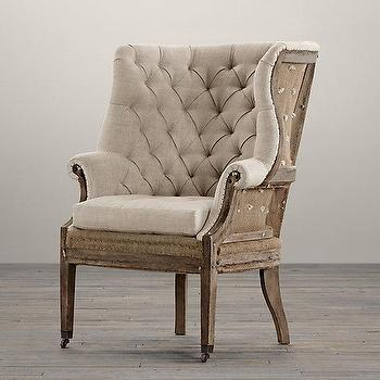 Seating - Deconstructed 19th C. English Wing Chair I Restoration Hardware - deconstructed english wing chair, deconstructed tufted burlap wing chair, deconstructed burlap wing chair with nailhead trim,