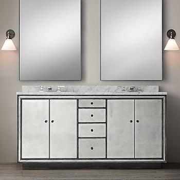 Bath - Strand Mirrored Double Vanity Sink I Restoration Hardware - mirrored dual sink vanity, mirrored double sink vanity, antiqued mirrored double sink vanity, art deco style mirrored double sink vanity, mirrored double sink vanity with marble countertop,