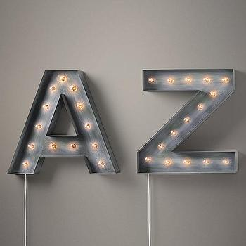 Art/Wall Decor - Vintage Illuminated Marquee Letters I Restoration Hardware - vintage marquee letters, illuminated metal letters, illuminated steel letters,