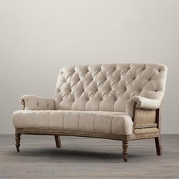 Seating - Deconstructed French Victorian Settee I Restoration Hardware - deconstructed french settee, deconstructed burlap tufted settee, deconstructed french victorian settee,