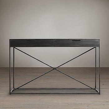 Tables - Gramercy Mirrored Console I Restoration Hardware - iron console table with mirrored top, industrial iron console table, industrial console table with antiqued mirrored top,
