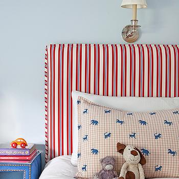 Mona Ross Berman Interiors - boy's rooms - boys room, boys bedroom, kids room, kids bedroom, boys headboard, kids headboard, striped headboard, kids striped headboard, red white and blue boys room, red white and blue kids room, safari animals pillow case, blue bedside table, kids bedside table, kids nightstand, studded nightstand, studded bedside table,