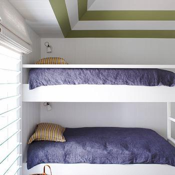 Justine Hugh Jones Design - boy's rooms - bunk room, kids room, kids bunk room, boys bunk room, striped ceiling, kids room with striped ceiling, boys room with striped ceiling, white and green ceiling, white and green striped ceiling, bunk beds, boys bunk beds, kids bunk beds,