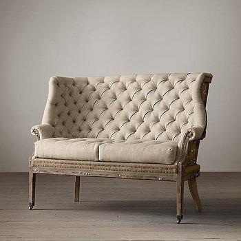 Seating - Deconstructed 19Th C. English Wing Settee Upholstered I Restoration Hardware - deconstructed english wing settee, deconstructed burlap tufted settee, deconstructed tufted wing settee,