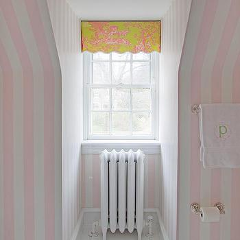 Mona Ross Berman Interiors - bathrooms - painted floor, white painted floor, white and pink wallpaper, striped wallpaper, white and pink striped wallpaper, scalloped valance, pink and green valance, white washed floor, white plank floor, kids bath, kids bathroom, girls bath, girls bathroom, kids bathroom ideas,