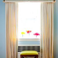 Mona Ross Berman Interiors - living rooms - ivory valance, ivory curtains, greek key curtains, curtains with greek key trim, drapes with greek key trim, greek key valance, valance with greek key trim, neon yellow ottoman,