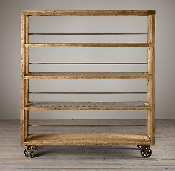 Salvaged Wood And Steel Shelving I Restoration Hardware