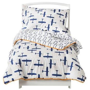 Bedding - Room 365 Globetrotter 4pc Toddler Set I Target - blue and orange toddler bedding, blue and orange airplane kids bedding, airplane kids bedding,