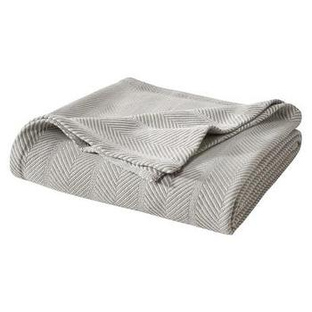 Bedding - Threshold Organic Blanket ITarget - organic cotton blanket, organic gray cotton blanket, gray herringbone blanket,
