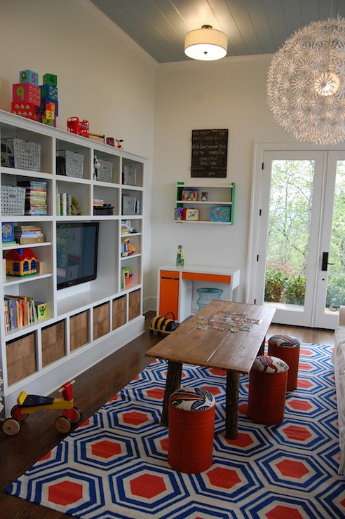 Playroom Cabinets Eclectic Living Room Birds Of A