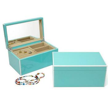 Decor/Accessories - Turquoise Lacquer Jewelry Box | Waiting On Martha - turquoise jewelry box, tiffany blue colored jewelry box, lacquered turquoise jewelry box,