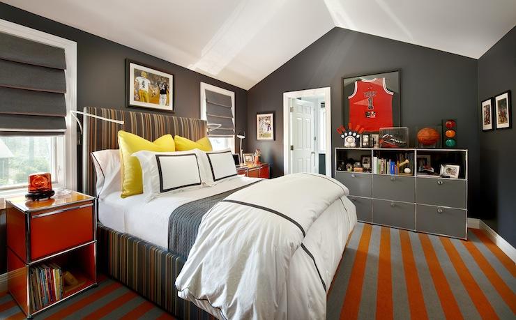 Gray And Orange Boy 39 S Room Contemporary Boy 39 S Room