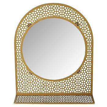 Mirrors - Chantilly Mirror (Gold)  | The Land of Nod - gold lace mirror, gold lace mirror with shelf, gold mirror with shelf,