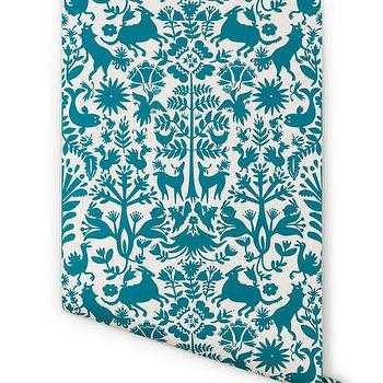Wallpaper - Hygge & West | Otomi (White/Turquoise) - turquoise and white animal motif wallpaper, turquoise and white contemporary animal motif wallpaper, turquoise and white mexican animal motif wallpaper,