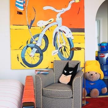 Adorable boy's bedroom with white walls adorned with a large scale colorful ...